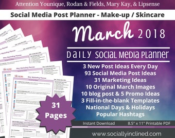 Social Media Planner - Make-up / Skincare Younique LipSense - March 93 social media post ideas, 31 marketing tips, blog posts, promo ideas