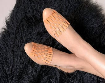 Woven flats, Leather shoes, Ballet flats, Woven shoes, Women shoes, Leather ballet flats, beige shoes, Light brown shoes