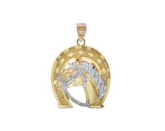 14K Two Tone Gold Horse And Horseshoe Lucky Charm