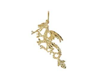 14K Yellow Gold Textured Diamond Cut Dragon Pendant