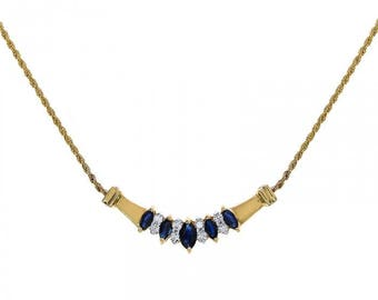 0.35 Carat Marquise Cut Sapphire Necklace With 0.25 Carat Round Cut Diamonds 14K Yellow Gold