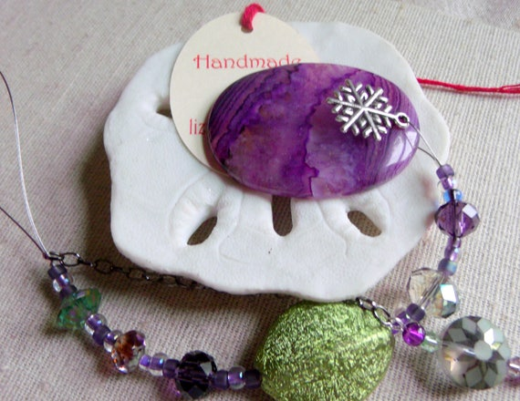 Christmas gemstone ornament - purple tree agate pendant - silver holiday charms - snowflake decor ideas - dragon vein agate - Lizporiginals