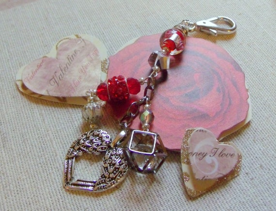 Valentines gift set - ceramic heart ring dish - red zipper pull - silver wing heart - Anniversary gift - mothers day - bag charm
