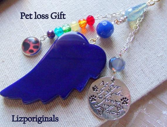 Pet loss gift - blue angel wing - agate pendant - Pet Sympathy gift - memento -Pet memorial - rainbow bridge charm - gift box set