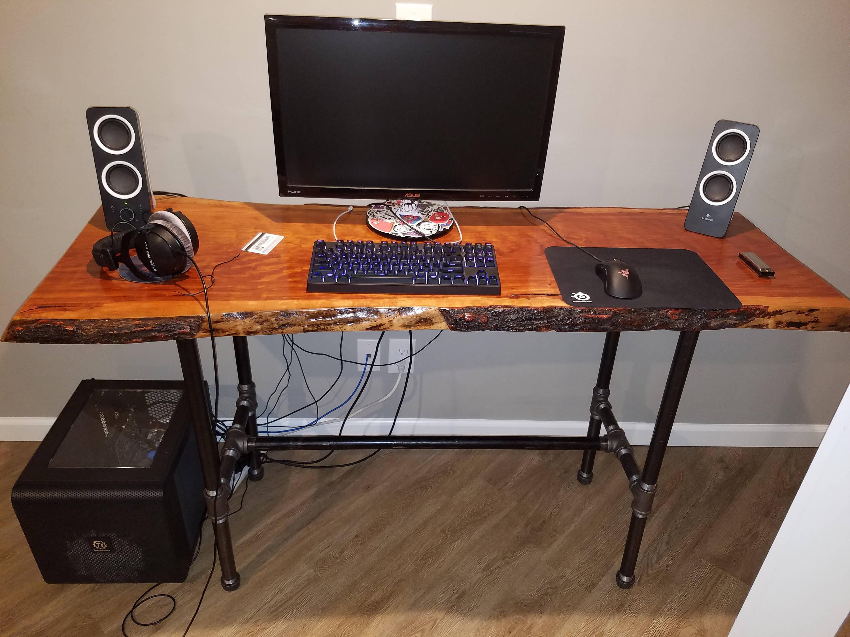 black pipe computer desk table frame diy parts kit 1 x. Black Bedroom Furniture Sets. Home Design Ideas