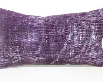 Handwoven Carpet Pillow Violet Overdyed Rug Pillow 12x24 Lumbar Carpet Pillow Home Decor Bedroom SP3060-1240