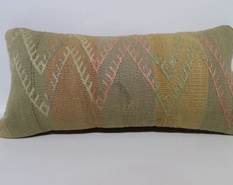 12x24 Striped Kilim Pillow Sofa Pillow 12x24 Decorative Kilim Pillow Embroidered Kilim Pillow Handwoven Kilim Pillow Cushions SP3060-1274
