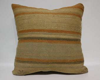 Naturel Kilim Pillow Throw Pillow Sofa Pillow 24x24 Large Kilim Pillow Bohemian Kilim Pillow Throw Pillow Cushion Cover   SP6060-1437