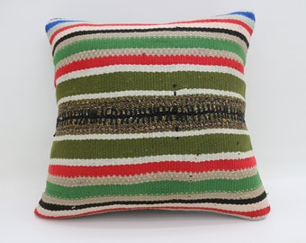 20x20 Pillow Cushion Cover Pillow Covers Striped Pillow Multicolor Kilim Pillow Red and Green Pillow Turkish Kilim Pillow SP5050-2797