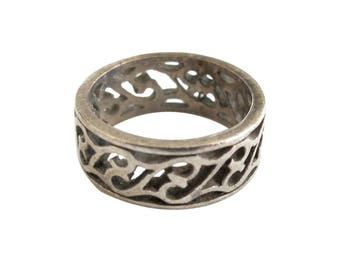 Sterling Silver Openwork Design Band Ring size 4 1/2