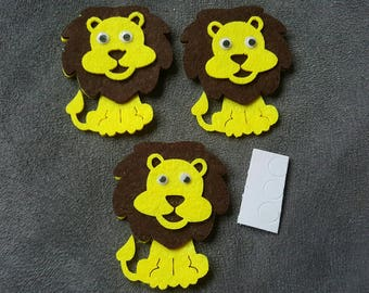 3 decorations APPLIQUE Lion felt 40x28mm mobile eyes + sticky pads Scrapbooking EMBELLISHMENTS