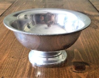 Vintage Aluminum Bowl Dish Puralim Metal Decor Table Centerpiece Candy Potpourri Jewelry Nut Made in Italy  Serving Small Footed Prop Style