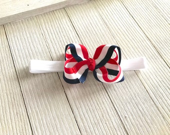 Small Twisted Boutique Hair Bow - Boutique Hair Bow - Stripes  - Baby Girl Toddler - Headband - Navy Red White - Baby Gift - Pigtails