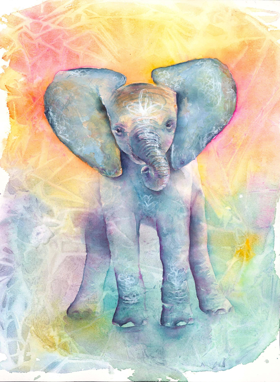 Baby Elephant Art Print Elephant Art Elephant Watercolor