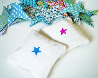 shaped Lavender sachet pillow linen white with star for a nursery or child