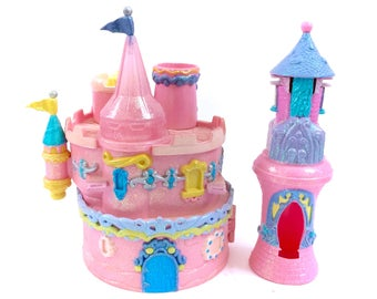 Vintage Trendmasters Castle Jewelry Starcastle Star Castle Complete With Tower 90s Polly Pocket Kawaii Fairy Kei Shimmer Pink Glitter 1990s