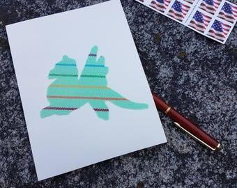 Greeting Card - Wrap Scrap - Girasol - Babywearing - Dragon - Green - Striped - Card - Unique Birthday Card