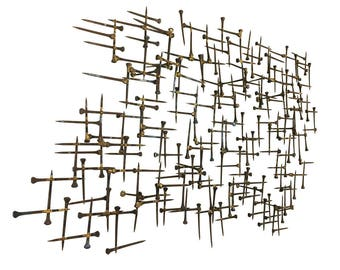 On Reserve for Johnathan***Brutalist Nail-Art Sculpture//MCM Wall Art in the Style of Curtis Jere and William Bowie