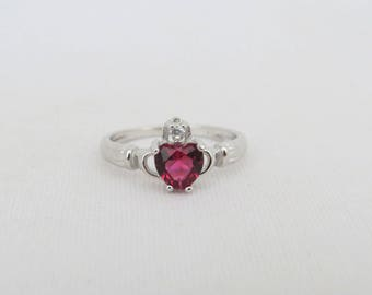 Vintage Claddagh Sterling Silver Ruby & White Topaz Ring Size 7