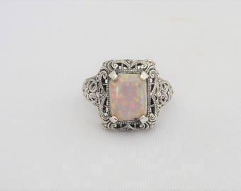 Vintage Sterling Silver White Opal Filigree Ring Size 10