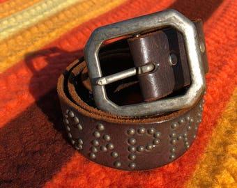 Vintage Leather Capricorn Belt w/ Stars & Moons