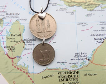 United Emirates coin necklace - 2 different designs - made of original coins from United Emirates