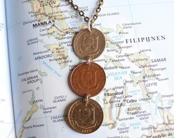 Philippines coin necklace - 5 different designs - made of original coins from the Philippines