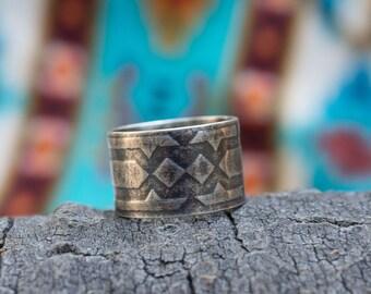Southwestern Roller Print Ring - Southwest Inspired - Roller Print - Silver Band