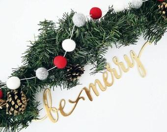 Christmas Felt ball Garland - Festive Garland - Christmas Decoration - Holiday Party Decoration - Wall Hanging