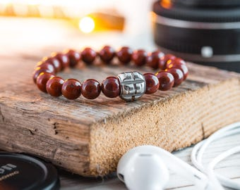 8mm - Red jasper beaded stretchy bracelet with stainless steel end bead, red bracelet, mens bracelet, mens beaded bracelet