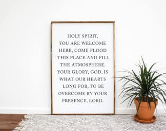 Holy Spirit You Are Welcome Here Wood Sign | Framed Wood Sign | Farmhouse Entryway Sign | Entryway Sign | Fixer Upper Decor | Gift For Her