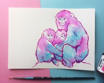 """Snub Nosed Monkey Watercolour Painting ~ 5 x 7"""""""