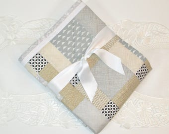 Me Covers Travel Quilt - SANDIE, Baby Quilt for either Boy or Girl, Taupe, Grey, Black & White, Blanket, Play Mat, Gift, Handmade, Cotton