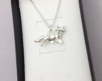 Forest Fox Necklace, Fox jewelry, Cat Necklace, kitten charm necklace, Silver Fox Necklace, Animal Jewelry, Silver Fox Necklace, Fox, Forest