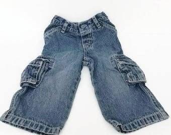 Baby Cargo Jeans for Baby Blue wash Jeans by Greendog Size 12 Months