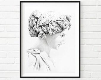 Athena Print, Pencil Drawing,Home Decor Wall Art, Blackandwhite Tradittional Art, Woman Portrait, Realistic Art Print, Bohemian Greek Godess