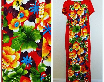 Brilliant Vintage Penny's Red and Multicolored Floral Hawaiian Dress