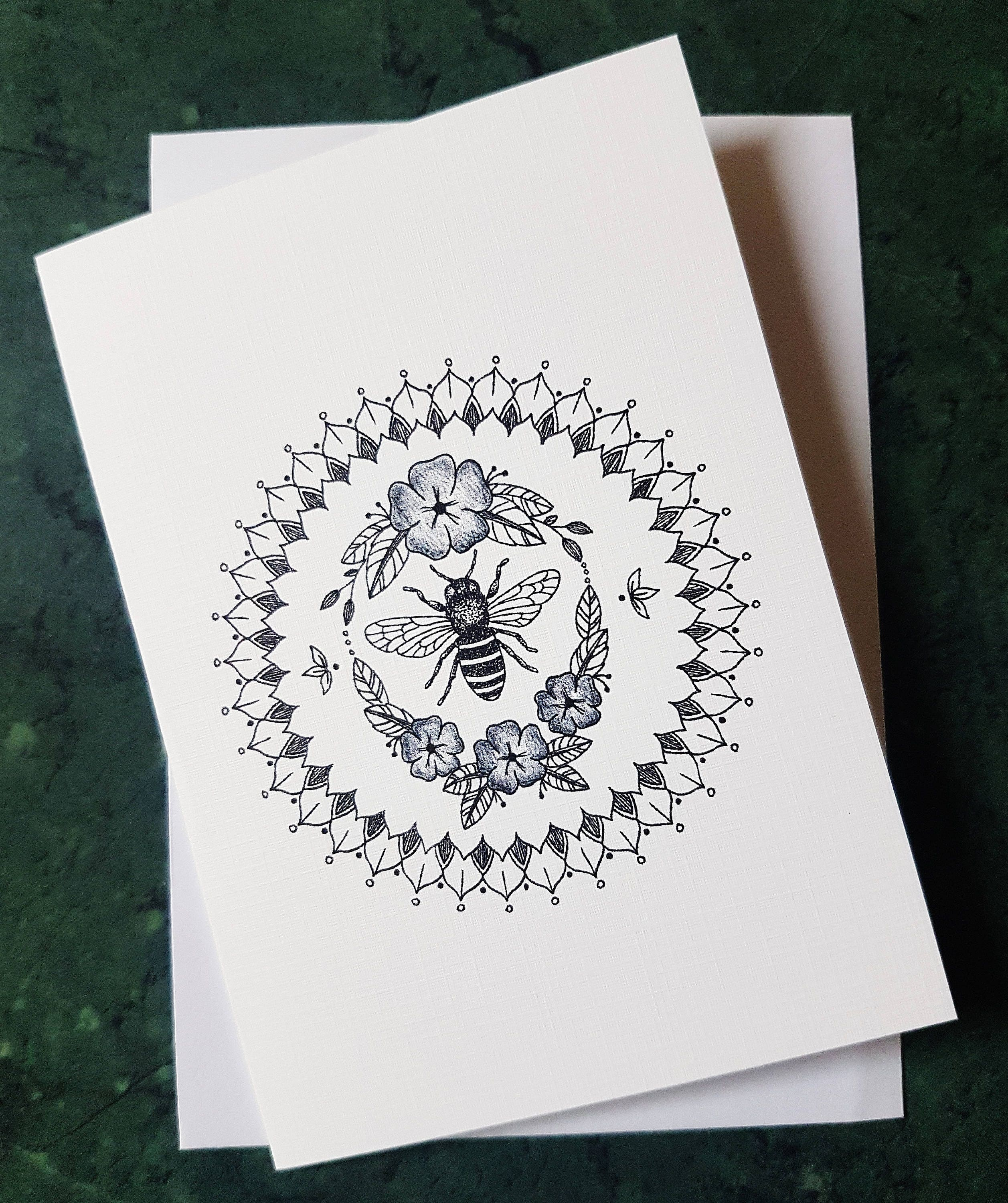 Bumble Bee Mandala Greeting Card With Art Print Of Original