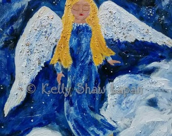 Angel, Mixed Media, Acrylic Angel, Wood painting, Angel painting, contemporary, Lapan