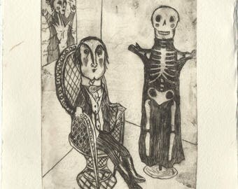 Original drypoint etching - Victorian puppet doctor and skeleton