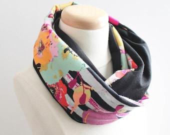 Stripe floral infinity scarf - girls infinity scarf, jersey knit infinity scarf, kids scarf, toddler scarf, black white scarf, fashion scarf