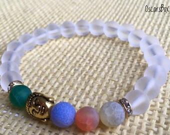 Matte Cracked Agate Bracelet | Frosted Clear Quartz Crystal bracelet | Women's Bracelet | Buddha bracelet | Women Jewelry | 8mm Bracelet