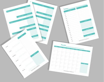 Teal Blue/Green Printable Planner Pages - Not Dated - Daily, Weekly, Monthly and Yearly - INSTANT DOWNLOAD!