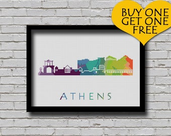 Cross Stitch Pattern Athens Greece Europe City Silhouette Watercolor Painting Effect Decor Embroidery Rainbow Color Skyline xstitch