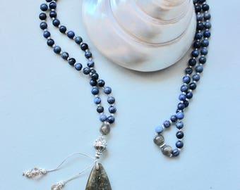 Blue Jasper 6mm Mala Necklace