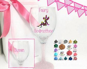 God mother wine glass, fairy godmother wine glass, custom wine glass godmother, fairy wine glass, fairy glass, wine glass for godmother,