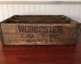 Vintage Worcester Soda Company Inc Beverage Crate Vintage Wooden Crate Worcester MA Advertising Bottling Wooden Crate Worcester Soda Crate