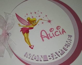 "Set of 10 invitations round ""My baptism"" Tinkerbell"