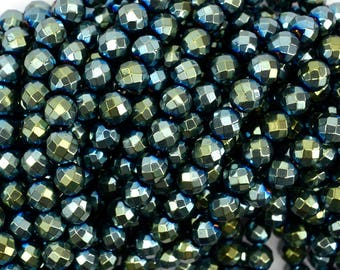 """8mm faceted green hematite round beads 15.5"""" strand 38942"""
