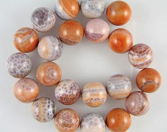 """18mm crab fire agate round beads 16"""" strand SALE 2403"""